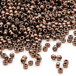 seed bead, dyna-mites™, glass, opaque iris bronze, #11 round. sold per 1/2 kilogram pkg.