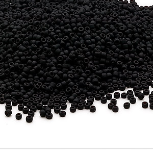 seed bead, dyna-mites™, glass, opaque matte black, #11 round. sold per pkg of 40 grams.