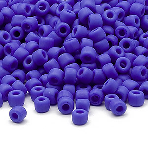 seed bead, dyna-mites™, glass, opaque matte medium blue, #6 round. sold per 40-gram pkg.