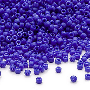 seed bead, dyna-mites™, glass, opaque medium blue, #11 round. sold per 40-gram pkg.