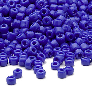 seed bead, dyna-mites™, glass, opaque medium blue, #6 round. sold per 40-gram pkg.