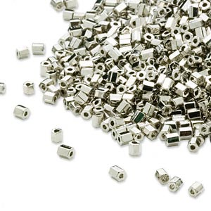 seed bead, dyna-mites™, glass, opaque nickel-finished, #11 hex 2-cut. sold per 1/2 kilogram pkg.