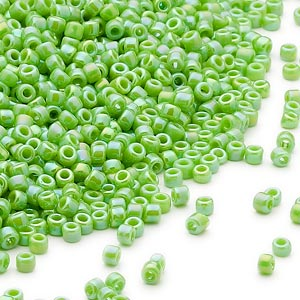 seed bead, dyna-mites™, glass, opaque rainbow jade green, #11 round. sold per 1/2 kilogram pkg.