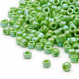 seed bead, dyna-mites™, glass, opaque rainbow jade green, #6 round. sold per 40-gram pkg.