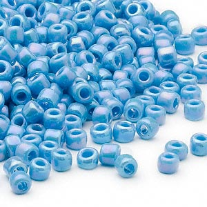 seed bead, dyna-mites™, glass, opaque rainbow turquoise blue, #6 round. sold per 1/2 kilogram pkg.
