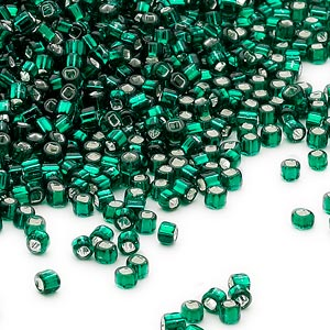 seed bead, dyna-mites™, glass, silver-lined translucent dark green, #11 round with square hole. sold per 1/2 kilogram pkg.