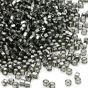 seed bead, dyna-mites™, glass, silver-lined translucent gunmetal, #11 round with square hole. sold per 40-gram pkg.