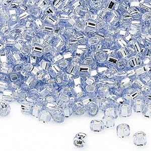 seed bead, dyna-mites™, glass, silver-lined translucent light blue, #6 round with square hole. sold per 40-gram pkg.