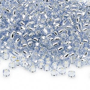 seed bead, dyna-mites™, glass, silver-lined translucent light blue, #8 round. sold per 40-gram pkg.