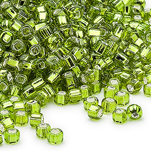 seed bead, dyna-mites™, glass, silver-lined translucent light green, #6 round with square hole. sold per 40-gram pkg.