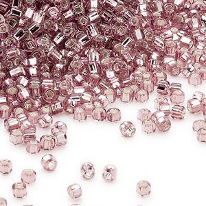seed bead, dyna-mites™, glass, silver-lined translucent lilac, #11 round with square hole. sold per 40-gram pkg.