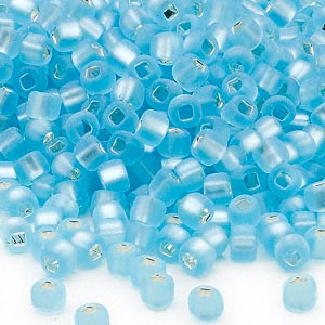 seed bead, dyna-mites™, glass, silver-lined translucent matte light aqua, #6 round with square hole. sold per 40-gram pkg.