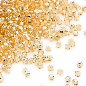 seed bead, dyna-mites™, glass, silver-lined translucent medium gold, #11 round with square hole. sold per 40-gram pkg.