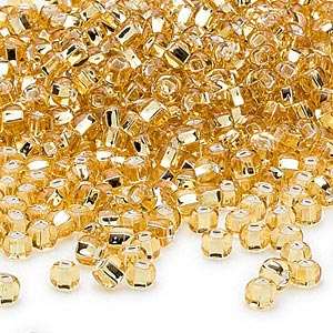 seed bead, dyna-mites™, glass, silver-lined translucent medium gold, #6 round with square hole. sold per 40-gram pkg.