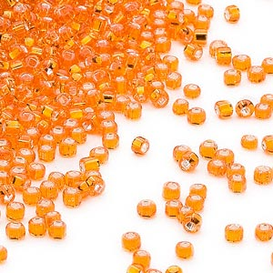 seed bead, dyna-mites™, glass, silver-lined translucent orange, #11 round with square hole. sold per 40-gram pkg.