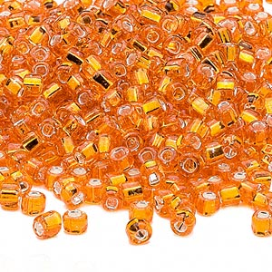 seed bead, dyna-mites™, glass, silver-lined translucent orange, #6 round with square hole. sold per 40-gram pkg.