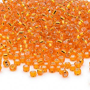 seed bead, dyna-mites™, glass, silver-lined translucent orange, #8 round. sold per 40-gram pkg.