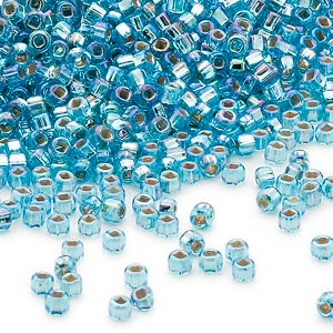 seed bead, dyna-mites™, glass, silver-lined translucent rainbow aqua, #11 round with square hole. sold per 40-gram pkg.