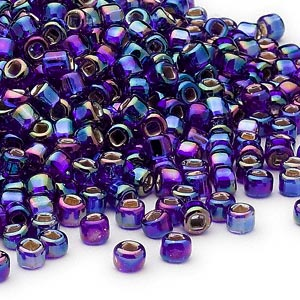 seed bead, dyna-mites™, glass, silver-lined translucent rainbow cobalt, #6 round with square hole. sold per 40-gram pkg.