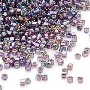 seed bead, dyna-mites™, glass, silver-lined translucent rainbow purple, #11 round with square hole. sold per 1/2 kilogram pkg.