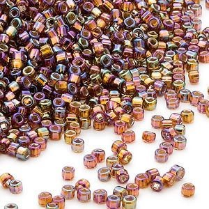 seed bead, dyna-mites™, glass, silver-lined translucent rainbow root beer, #11 round with square hole. sold per 1/2 kilogram pkg.