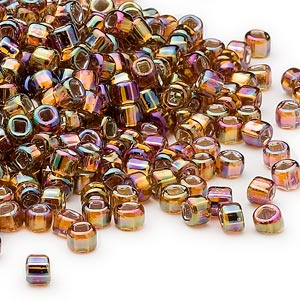 seed bead, dyna-mites™, glass, silver-lined translucent rainbow root beer, #6 round with square hole. sold per 1/2 kilogram pkg.