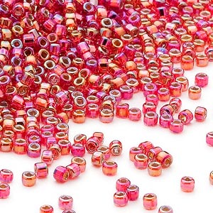seed bead, dyna-mites™, glass, silver-lined translucent rainbow ruby red, #11 round with square hole. sold per 40-gram pkg.
