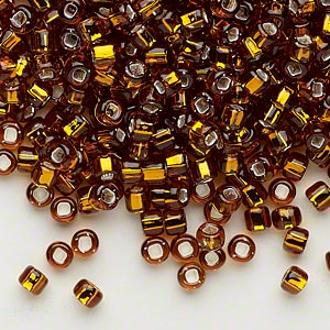 seed bead, dyna-mites™, glass, silver-lined translucent root beer, #6 round with square hole. sold per 40-gram pkg.