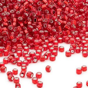 seed bead, dyna-mites™, glass, silver-lined translucent ruby red, #11 round with square hole. sold per 1/2 kilogram pkg.