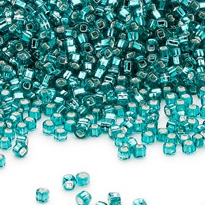 seed bead, dyna-mites™, glass, silver-lined translucent teal blue, #11 round with square hole. sold per 40-gram pkg.