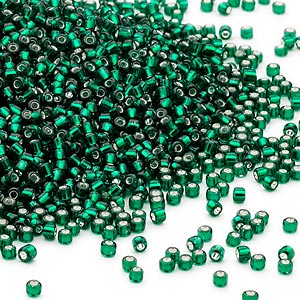 seed bead, dyna-mites™, glass, silver-lined transparent dark green, #11 round. sold per 1/2 kilogram pkg.