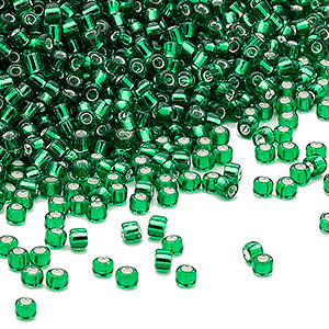 seed bead, dyna-mites™, glass, silver-lined transparent emerald green, #11 round. sold per 40-gram pkg.