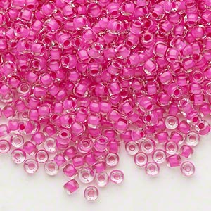 seed bead, dyna-mites™, glass, translucent inside color hot pink, #8 round. sold per 40-gram pkg.