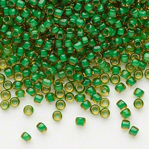 seed bead, dyna-mites™, glass, translucent inside color lime green, #8 round. sold per 40-gram pkg.