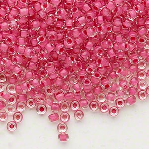 seed bead, dyna-mites™, glass, translucent inside color pink, #8 round. sold per 40-gram pkg.