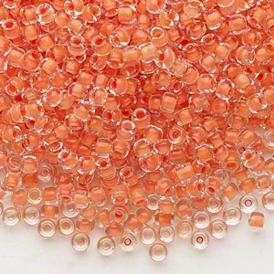 seed bead, dyna-mites™, glass, translucent inside color tangerine, #8 round. sold per 40-gram pkg.