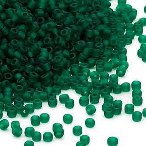 seed bead, dyna-mites™, glass, translucent matte dark green, #11 round. sold per 40-gram pkg.