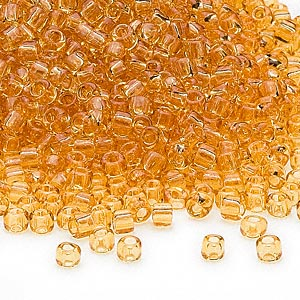 seed bead, dyna-mites™, glass, transparent amber yellow, #8 round. sold per 1/2 kilogram pkg.