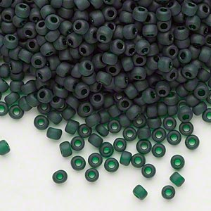 seed bead, dyna-mites™, glass, transparent dark green matte, #8 round. sold per 1/2 kilogram pkg.