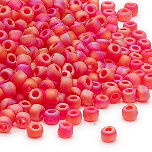 seed bead, dyna-mites™, glass, transparent frosted rainbow red, #6 round. sold per 40-gram pkg.