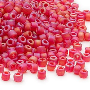 seed bead, dyna-mites™, glass, transparent frosted rainbow ruby red, #6 round. sold per 1/2 kilogram pkg.
