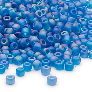 seed bead, dyna-mites™, glass, transparent frosted rainbow teal, #6 round. sold per 40-gram pkg.