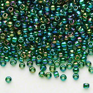 seed bead, dyna-mites™, glass, transparent rainbow emerald green, #8 round. sold per 1/2 kilogram pkg.