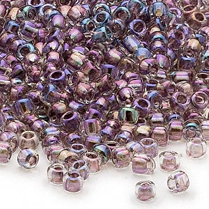seed bead, dyna-mites™, glass, transparent rainbow inside color lilac, #6 round. sold per 1/2 kilogram pkg.