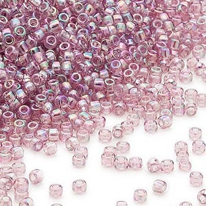 seed bead, dyna-mites™, glass, transparent rainbow lilac, #11 round. sold per 40-gram pkg.