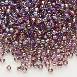 seed bead, dyna-mites™, glass, transparent rainbow lilac, #8 round. sold per 40-gram pkg.