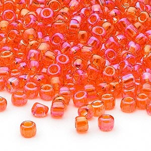 seed bead, dyna-mites™, glass, transparent rainbow orange, #6 round. sold per 1/2 kilogram pkg.