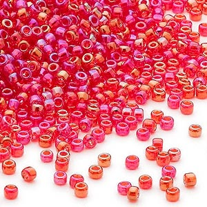 seed bead, dyna-mites™, glass, transparent rainbow ruby red, #11 round. sold per 40-gram pkg.