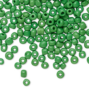 seed bead, glass, opaque green, #6 round. sold per 20-gram vial.