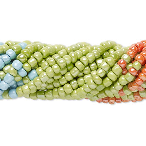 seed bead, glass, opaque luster turquoise blue / light green / peach, #6 round. sold per pkg of (10) 16-inch strands, approximately 1,300 beads.